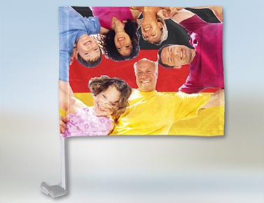 autoflagge bedrucken flagge f rs auto selbst gestalten. Black Bedroom Furniture Sets. Home Design Ideas